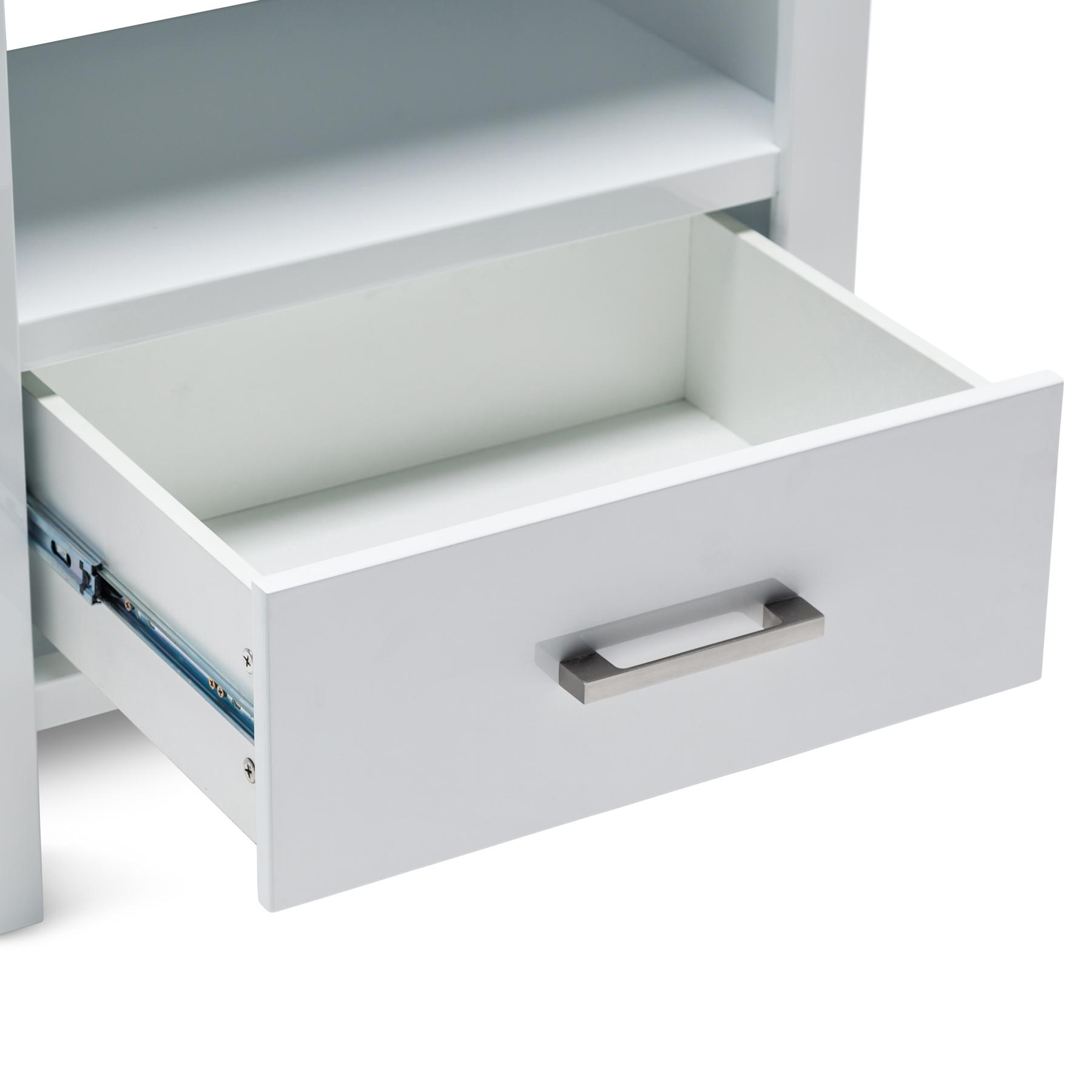 Vanessa Brand New High Gloss White MDF Bookcase 1 Drawer 4