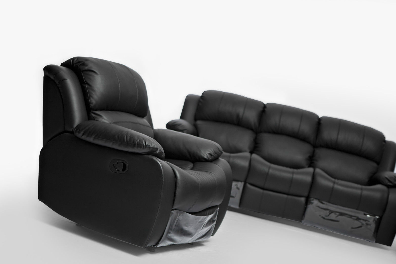 Kacey Brand New Black Leather 3 Seater Chair Recliner